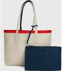 bolso doble faz beige-rojo-azul lacoste tote bag