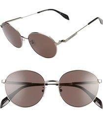 men's alexander mcqueen 54mm round sunglasses - ruthenium