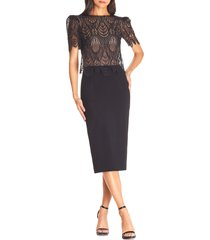women's dress the population kenna lace popover bodice dress
