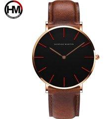 relojes de cuarzo de nylon para hombres y mujeres-marrón