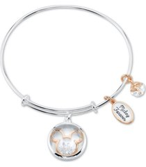 unwritten crystal micky mouse charm bangle bracelet in stainless steel & rose gold-tone