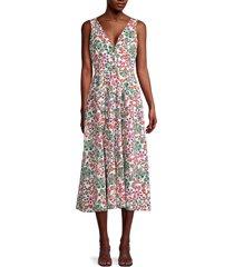 saloni women's mix floral-print cotton dress - ivory multi - size 6