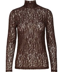 banu t-neck blouse blouse lange mouwen bruin second female