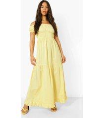 geplooide maxi jurk met laagjes en rug strik, lemon