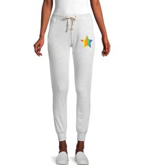 theo & spence women's star jogger pants - heather grey - size l