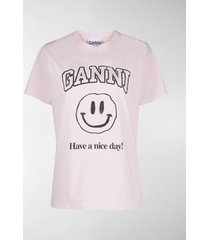 ganni smiley print t-shirt