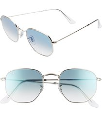 ray-ban 51mm aviator sunglasses in silver/blue gradient at nordstrom