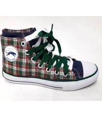 zapatilla verde tamara shoes lona cuadrillé