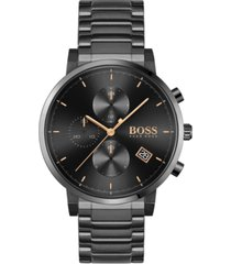 boss men's chronograph integrity black stainless steel bracelet watch 43mm