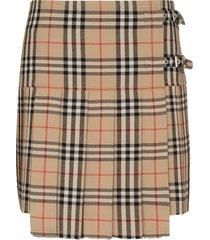 burberry vintage check print pleated skirt - brown