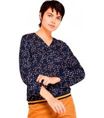 blusa de tejido con remate de jersey azul esprit