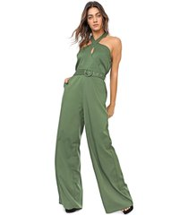 macacão queens paris pantalona liso verde