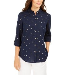 charter club foil-dot linen top, created for macy's