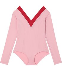 burberry two-tone stretch jersey bodysuit - pink