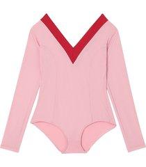 burberry two-tone stretch jersey bodysuit - pink