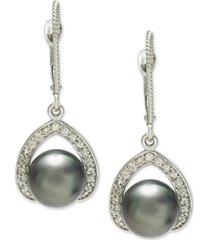 cultured tahitian pearl (8mm) & diamond (1/3 ct. t.w.) drop earrings in 14k white gold