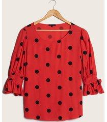 blusa lunares y manga con vuelos rojo 12