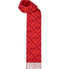 fendi ff logo long scarf - red