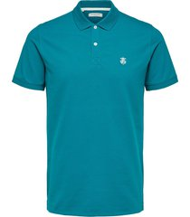 selected homme heren poloshirt azuur stretch pique slim fit