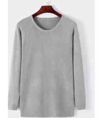 hombres casual round cuello suéter liso