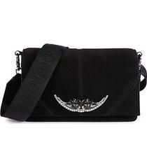 jeweled suede mini crossbody bag