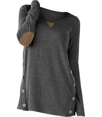 plus size buttons elbow patch heathered t shirt