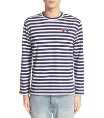 men's comme des garcons twin applique stripe t-shirt, size x-large - blue