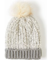 lane bryant women's faux-fur pom pom hat onesz blush