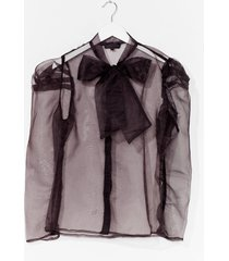 womens bow 'em how it's done organza blouse - black