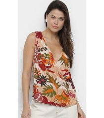blusa cantão transpassada tropical feminina