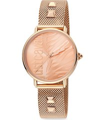 animal rosegold stainless steel mesh-strap zebra-stripe watch