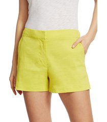 theory women's high-waist shorts - bright lime - size 6
