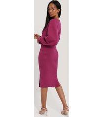na-kd rib knitted skirt - pink