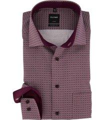 olymp modern fit overhemd bordeaux pattroon