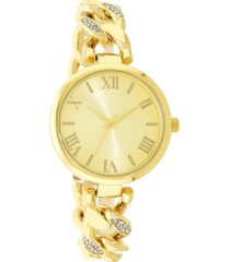 charter club women's gold-tone crystal-accent chain bracelet watch 38mm, created for macy's