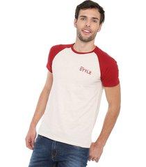 camiseta beige-rojo colore