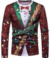 camiseta estampada de copos de nieve de navidad hombres falsos dos piezas