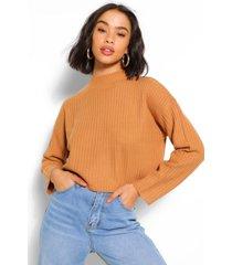 boxy rib knit sweater, camel