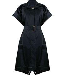 eudon choi spread-collar belted sateen shirt dress - blue
