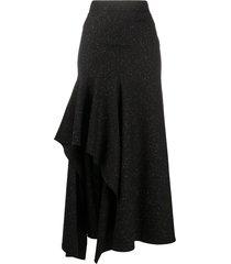 alexander mcqueen asymmetric draped skirt - black