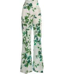 blumarine silk pants w/flowers printing