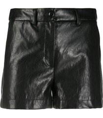 boutique moschino high-waisted leather shorts - black