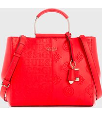 cartera satchel denim  rojo guess