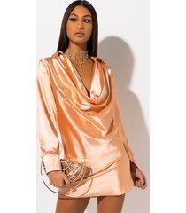 akira feeling peachy cowl neck mini dress