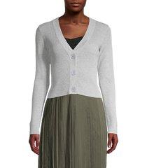 lea & viola women's cropped cardigan - grey - size l