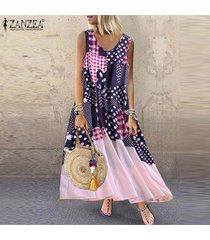 zanzea s-5xl vestido sin mangas de verano sin mangas para mujer vestido estampado floral suelto -azul marino