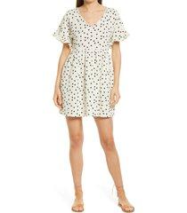 women's madewell women's dot toss lightspun ruffle sleeve babydoll dress, size medium - white