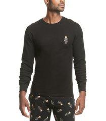 polo ralph lauren men's toggle bear waffle-knit sleep shirt