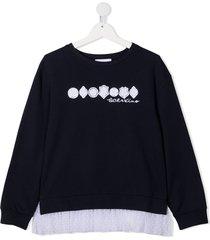 ermanno scervino lace detail sweatshirt - blue