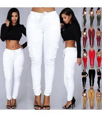 women fashion denim pencil pants hight waist drawstring trousers casual elastic